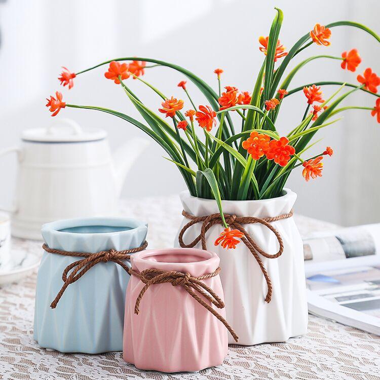 DemüTigen Keramik Fleischigen Blumentöpfe Künstliche Blume Vasen Trockene Blumen Keramik Handwerk Ornamente Hause Dekoration Zubehör Moderne Haus & Garten