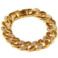 2016 Hip Hop Bling Iced Out Bracelet 18K Gold Plated Men Bracelet Punk Rock Jewelry Sideway