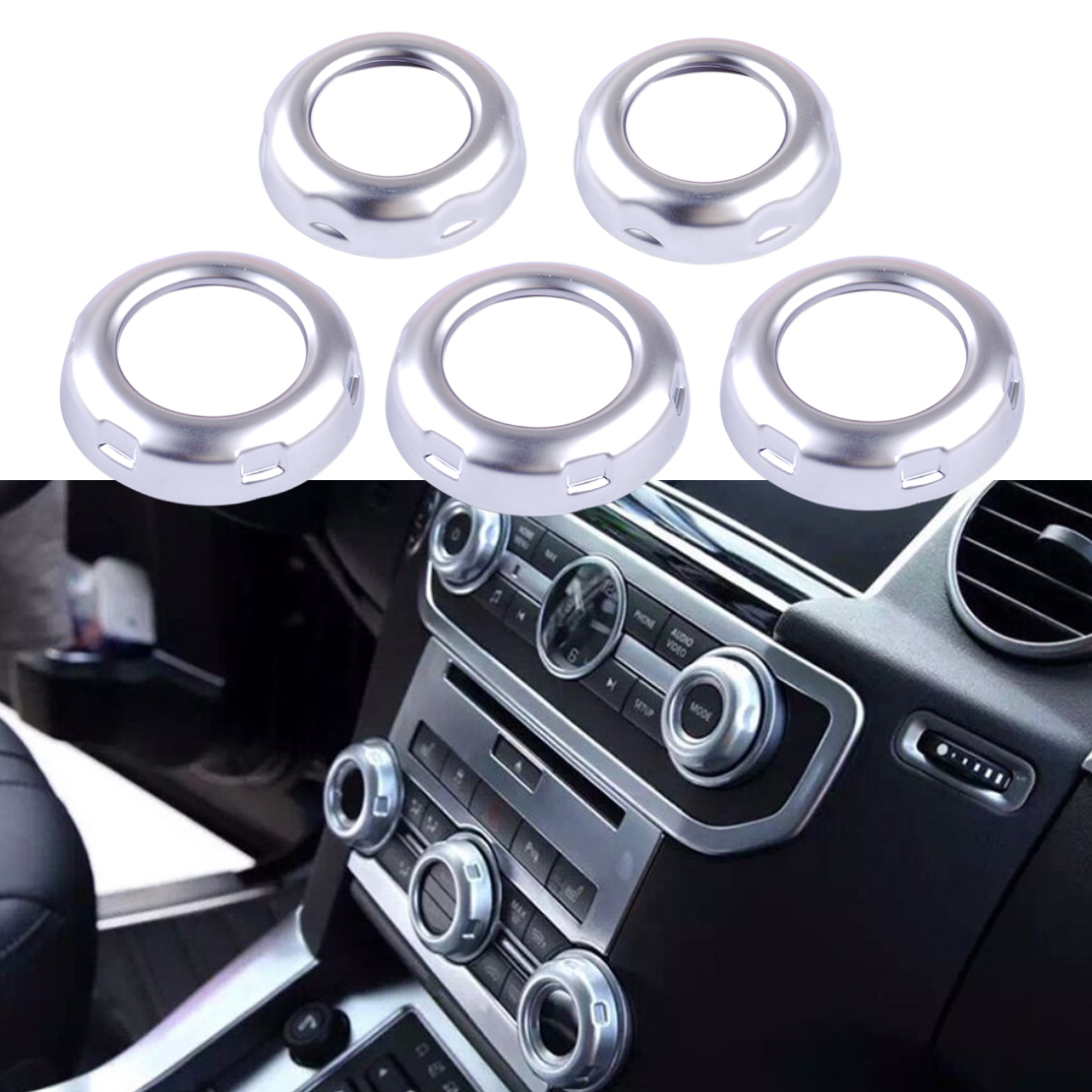 beler 5pcs Dashboard Console Switch Button Ring Cover Trim fit for Land Rover Discovery 4 LR4 Range Rover Sport 2010 2011 2012 carbon fiber style abs plastic for land rover range rover evoque 12 17 center console gear panel decorative cover trim newest
