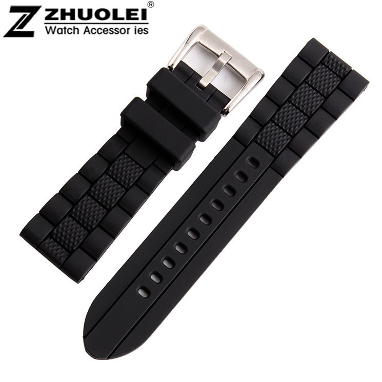 23mm (Buckle 20mm) NEW High Quality Men Black Waterproof Diving Silicone Rubber RA Watch BANDS Strap Free Shipping 28mm new high quality red waterproof diving silicone rubber watch bands straps