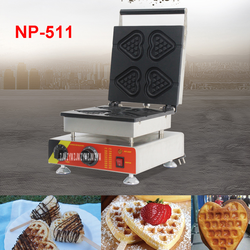 1PC NP-511 110V/220V Electric Commercial Nonstick Heart-shape Lolly Waffle Stick Maker Iron Machine Baker stainless steel 1.5KW 110v 220v waffle maker iron machine baker heart shape commercial waffle maker