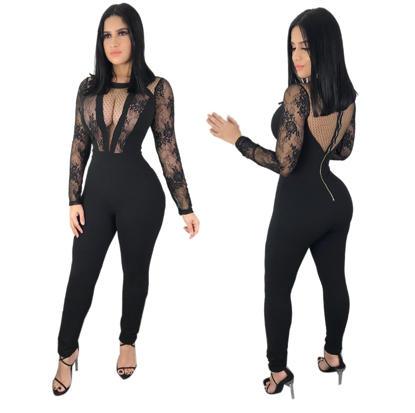 3282630eb57 Mesh Sheer Lace Patchwork One Piece Leotard Women Full Sleeve Back Zipper Long  Pant Bandage Playsuit. US  18.72. Plus Size Polka Dot Print ...