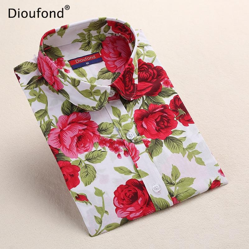 Dioufond Ženske cvjetne print košulje pamučne košulje Ženske Vintage okretne-dolje ovratnik Tops Dame rad s dugih rukava bluzu 2017