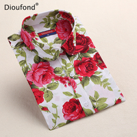 Dioufond New Women's Floral Print Blouses Cotton Shirts Women Vintage Turn-Down Collar Tops Ladies Work Long Sleeve Blouse 2017