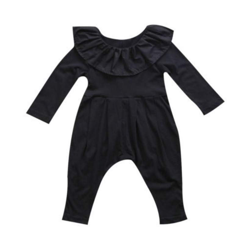 Pudcoco Baby 2017 Autumn Newborn Baby Clothes Solid Long Sleeve Baby Boy Girl Clothes Black Rompers Body Clothes Newborn warm thicken baby rompers long sleeve organic cotton autumn