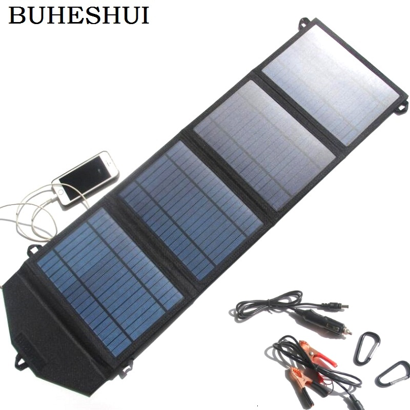 BUHESHUI 20W Solar Panel+Foldable Solar Charger For Mobile Pohone/12v Battery Car Charger Dual USB5V&DC18V Output Free Shipping