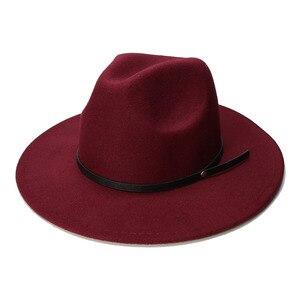 Image 4 - LUCKYLIANJI الرجعية طفل الطفل خمر 100% الصوف قبعة بحافة واسعة فيدورا بنما الجاز القبعة المستديرة حلقة من جلد أسود (54 سنتيمتر/تعديل)