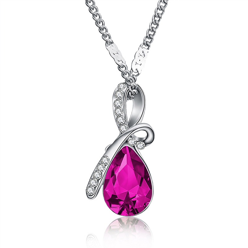 MISANANRYNE Fashion 10 Colors Austrian Crystal Water Drop Pendants&Necklaces Chain Necklace Fashion Jewelry For Women 15