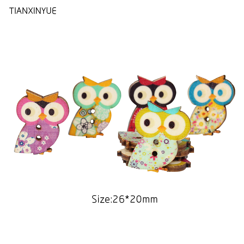DIY Cattoon Button Twig Owl Wooden Buttons Sewing Crafts Clothes Accessories W