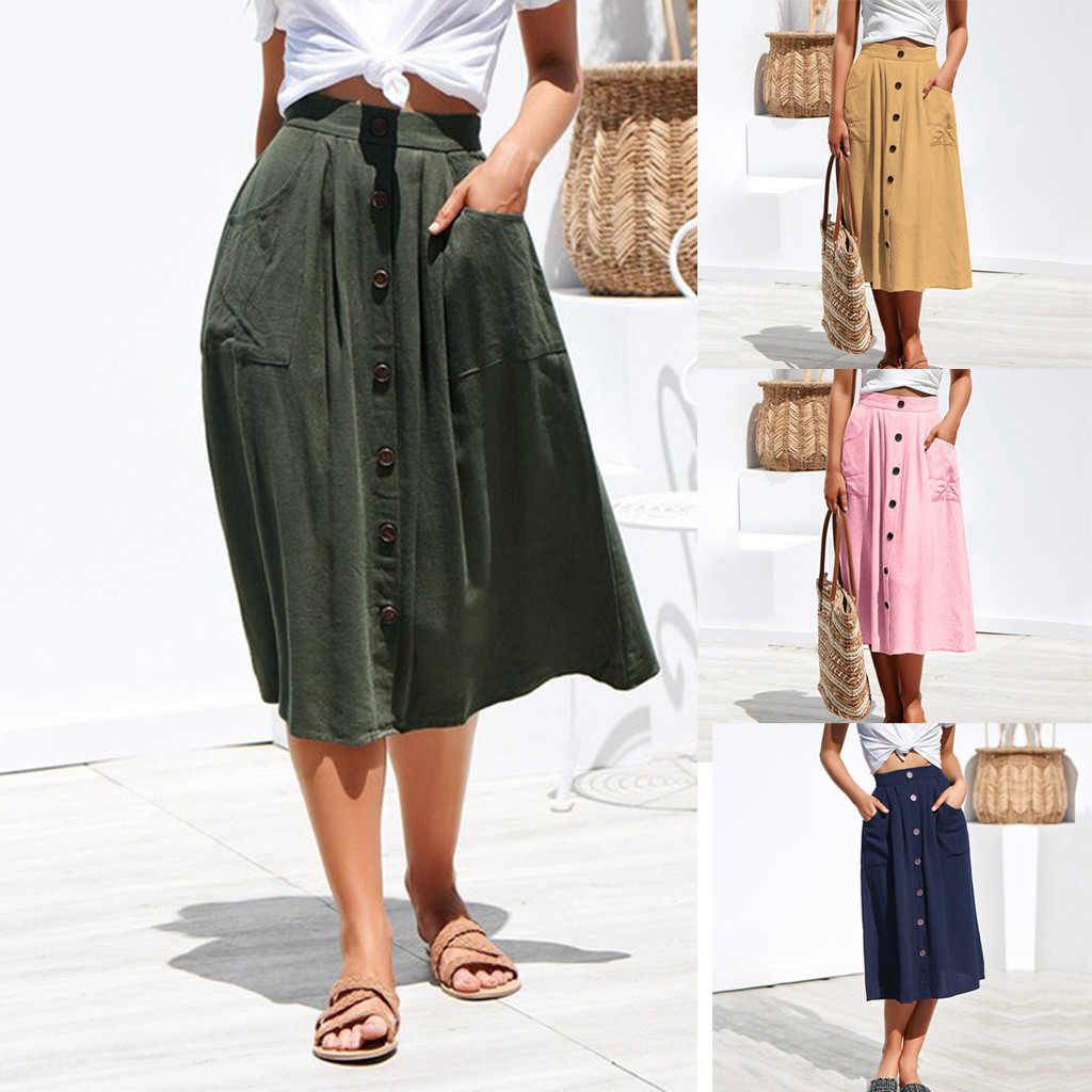 Womail Women Skirt Summer Fashion Sexy Casual Button High Waist Hip With Pocket Long Skirt Daily Casual 2019 Dropship F10