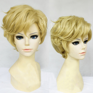 Image 2 - Sailor uranus tenoh haruka peruca cosplay, peruca curta de linho loira de cabelo sintético, resistente ao calor, fantasia + touca