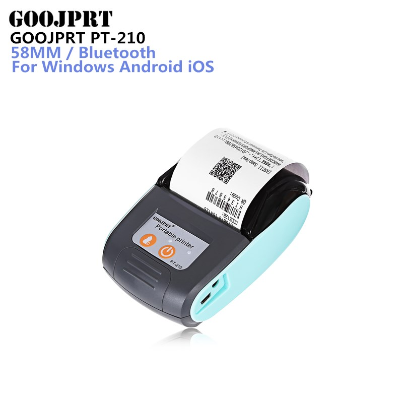 GOOJPRT PT-210 58MM Bluetooth Thermal Printer Portable Wireless Receipt Machine for Windows Android iOS goojprt mtp ii 58mm bluetooth thermal printer портативная беспроводная приемная машина для windows ios