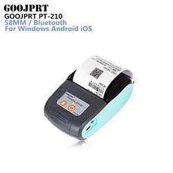 GOOJPRT PT-210 58MM Bluetooth Thermal Printer Portable Wireless Receipt Machine for Windows Android iOS