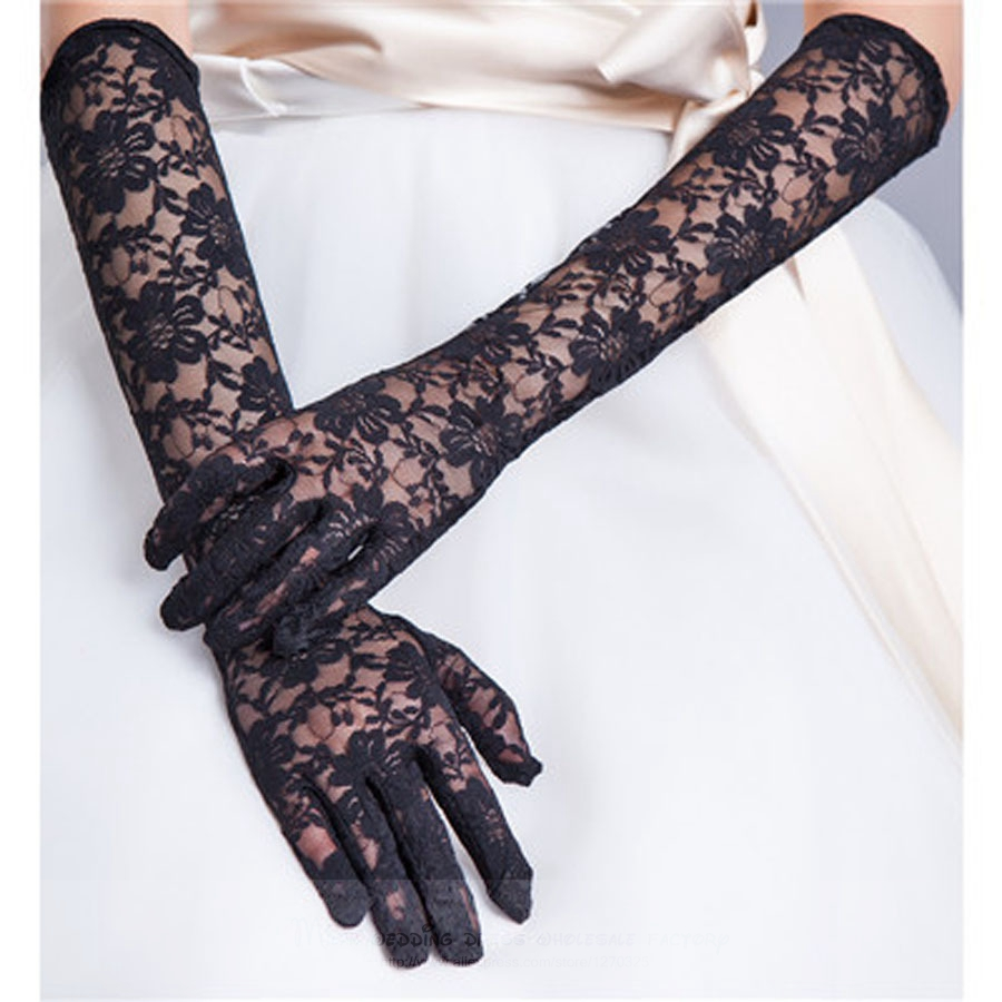 wedding gloves2018 long paragraph Korean Bridal Wedding Gloves lace black, red, ivory, white wedding gloves wholesale