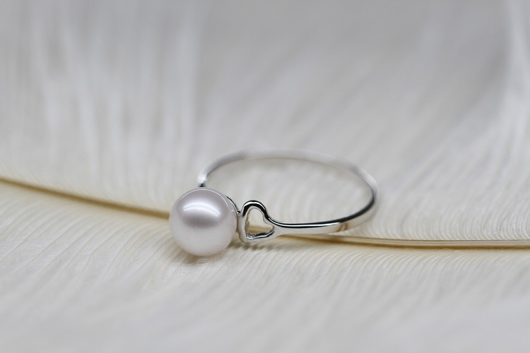daimi jewelry natural pearl heart silver ring (3)