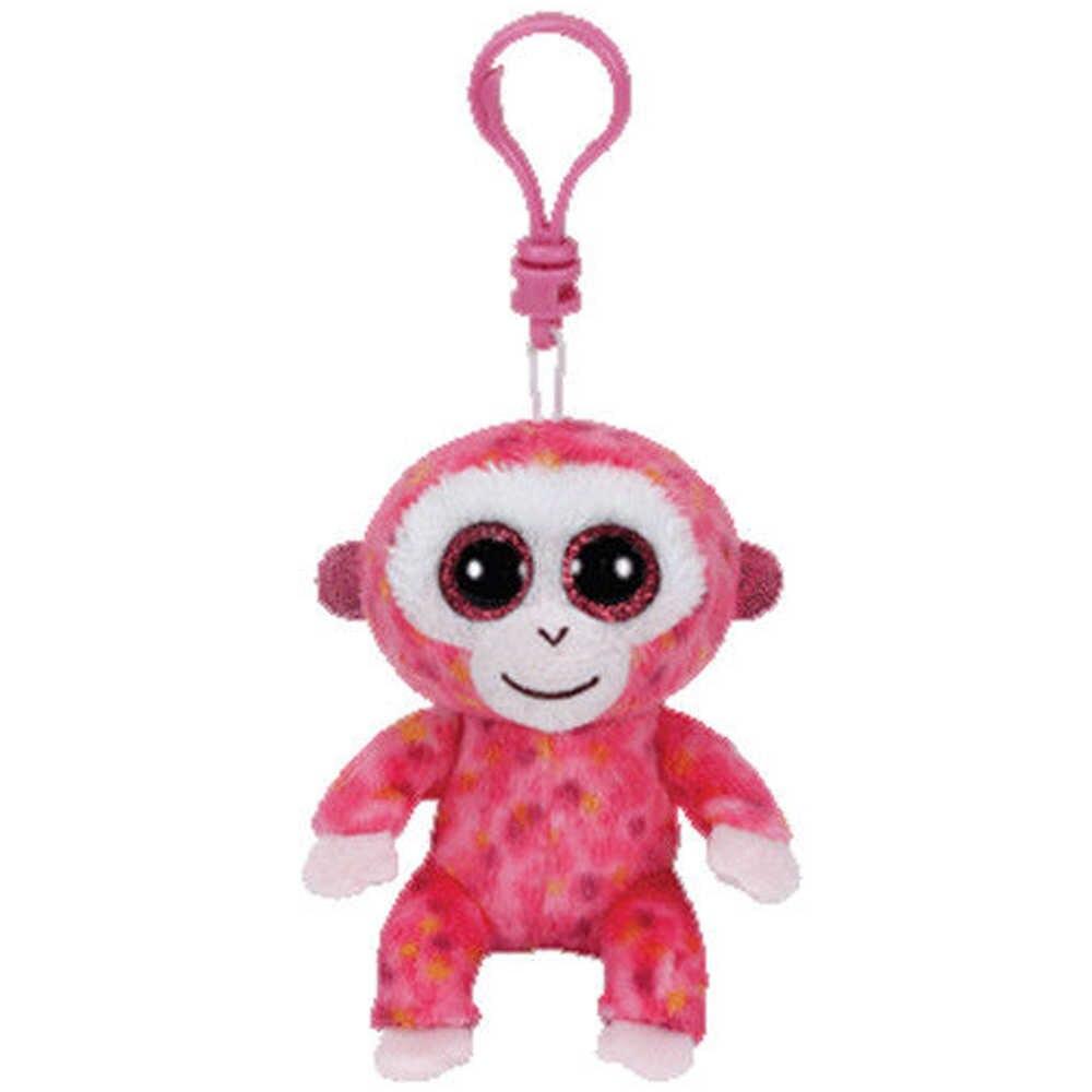 """Pyoopeo Ty бини Боос 4 """"9 см Рубиновая розовая обезьяна зажим плюшевый брелок с большими глазами мягкая коллекция животных кукла игрушка с биркой в виде сердца"""