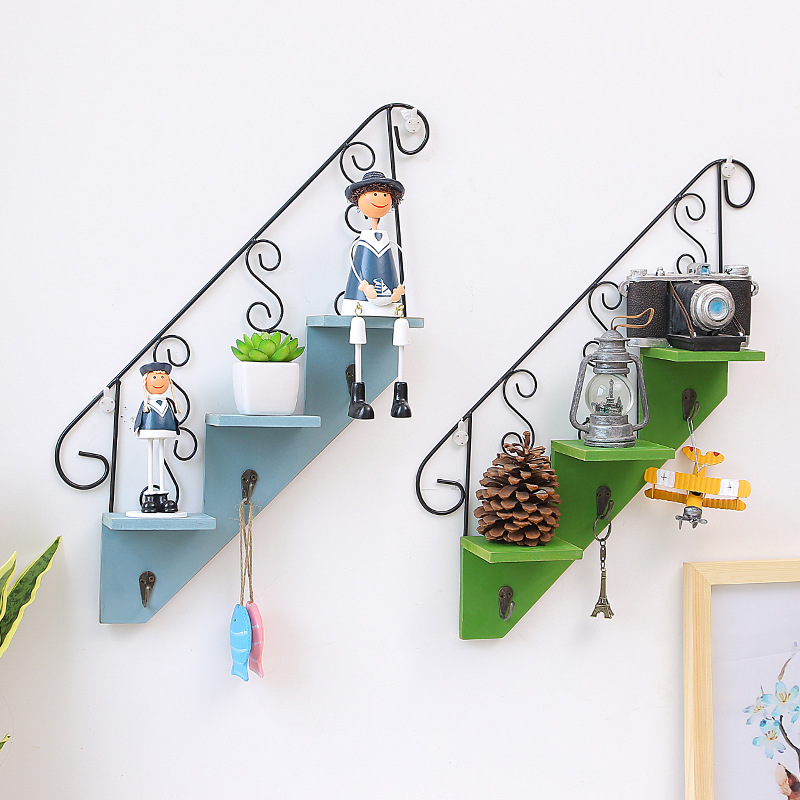 buy 3 tier shelf home decoration decorative stairs shape wall mounted floating holder with 3 hooks rack display rack from