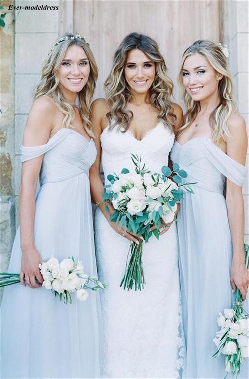 Dusty Blue Bohemian Bridesmaid Dresses 2020 Off The Shoulder Country Wedding Guest Dresses Cheap Maid Of Honor Gowns Cheap