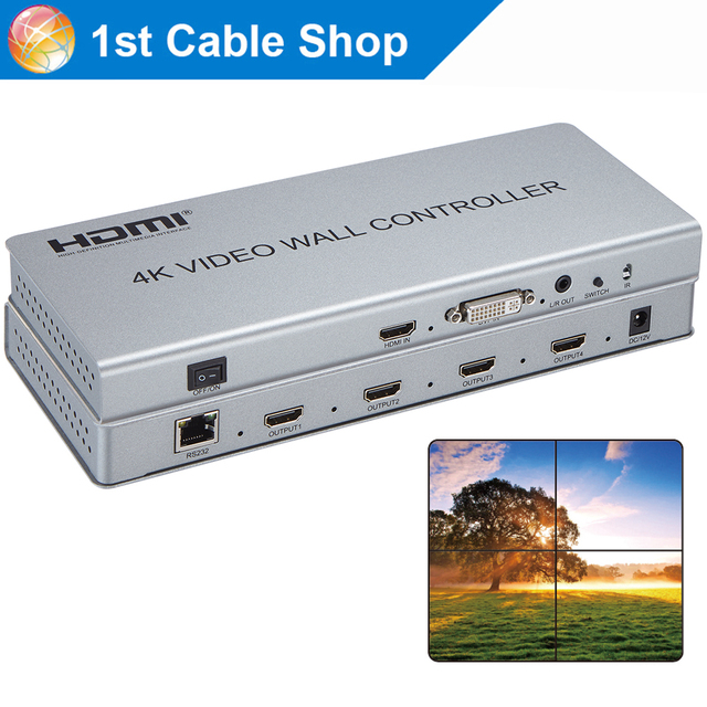 US $249 92 20% OFF 4K HDMI 2X2 video Wall controller LCD TV Video Wall  Processor DVI HDMI in 4 HDMI out with audio&RS232 control-in HDMI Cables  from