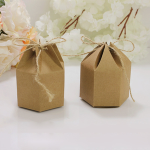 Image 3 - 50pcs Creative Kraft Paper Package Cardboard Box Lantern Hexagon Craft Gift Candy Box Party Wedding Favors Gift Packaging Paper