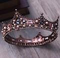 Barroco europeu Retro Rhinestone Nupcial Acessórios de Cabelo Jóias Cabeça Completa Rodada Crown Tiaras Para O Casamento Da Noiva Do Vintage
