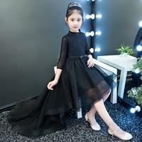2018 Spring New Children Girls Model Show Evening Formal Party Lace Dresses Kids Babies Black Color