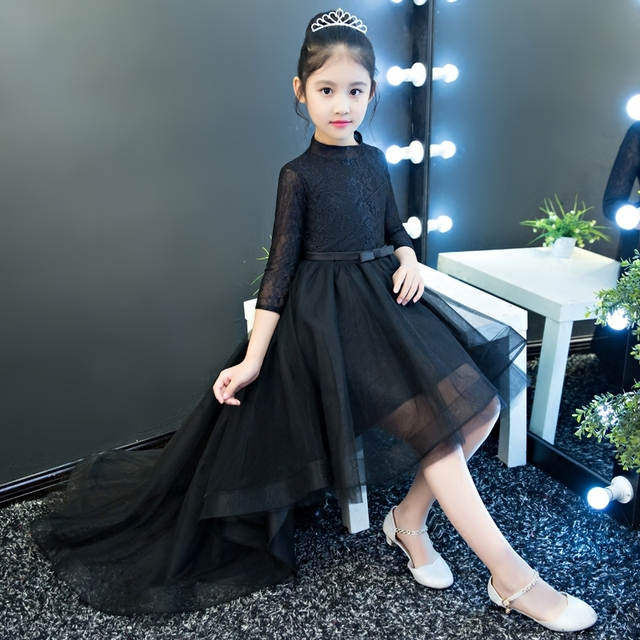 5ecc8f87215 2018 Spring New Children Girls Model Show Evening Formal Party Lace Dresses  Kids Babies Black Color Ball Gown Trailing Dress