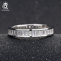 ORSA JEWELS Wedding Bands Silver Ring Full Invisible Setting Retangel CZ Fashion Eternity Rings for Women Engagement Gift OR62