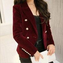 M-2XL plus size 2016 autumn female Korean Slim was thin velvet leisure suit solid color double-breasted jacket w1085