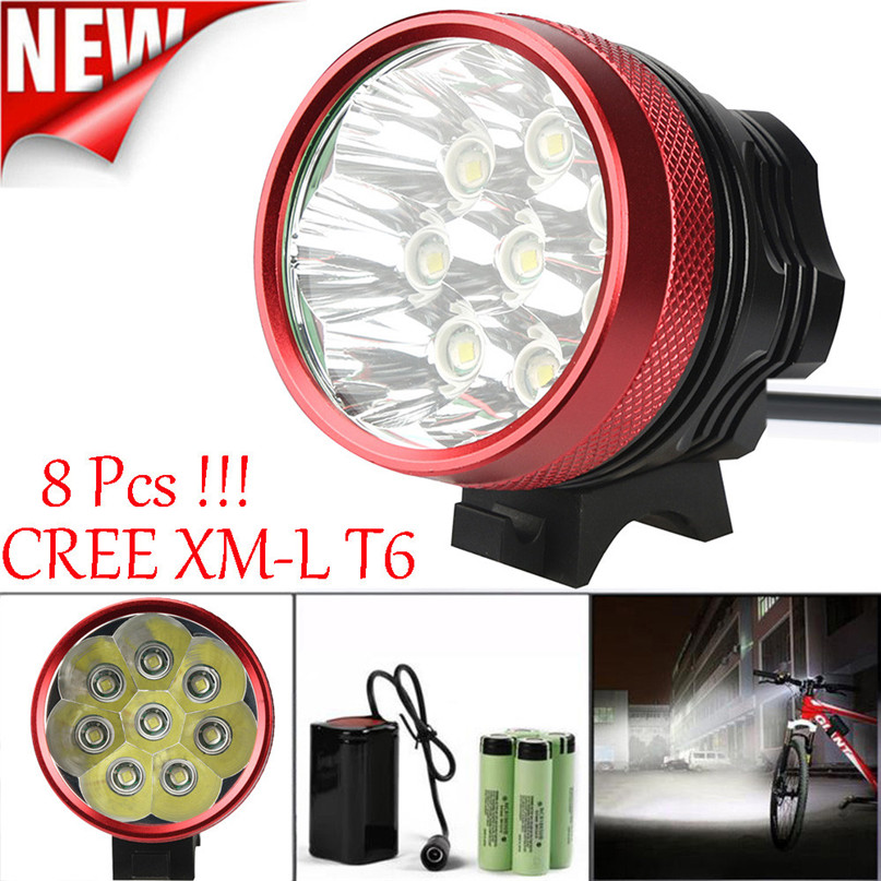 Waterpoof Bicycle Headlight Lamp Bike Cycling Bicycle Front Light for 2000 Lumen XM-L T6 LED 6 x 18650 Flashlight #2A26 *