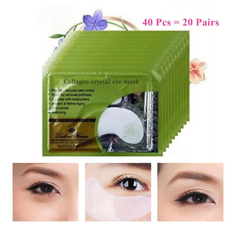 40Pcs=20Pairs Beauty Deck Out Women Crystal Collagen Eye Mask Remove Black Patches For Eye Skin Care Korean Cosmetics