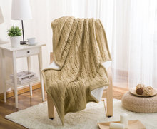 Autumn and Winter Sofa Blanket Plus Velvet Knit Casual Foreign Trade Wool Blanket European-style Composite Blanket Imitation Cas цена