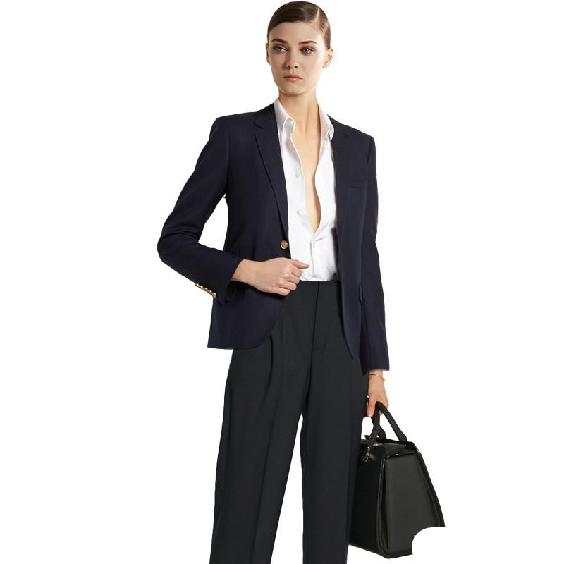 Personnalisé Ensemble Dames Royal Pantalons Costume satin Formelle As Picture Bureau Élégant Bussiness Femmes noir Pantalon Costumes Travail Color Noir Chart Blazer Show color rpC8xqnwOr