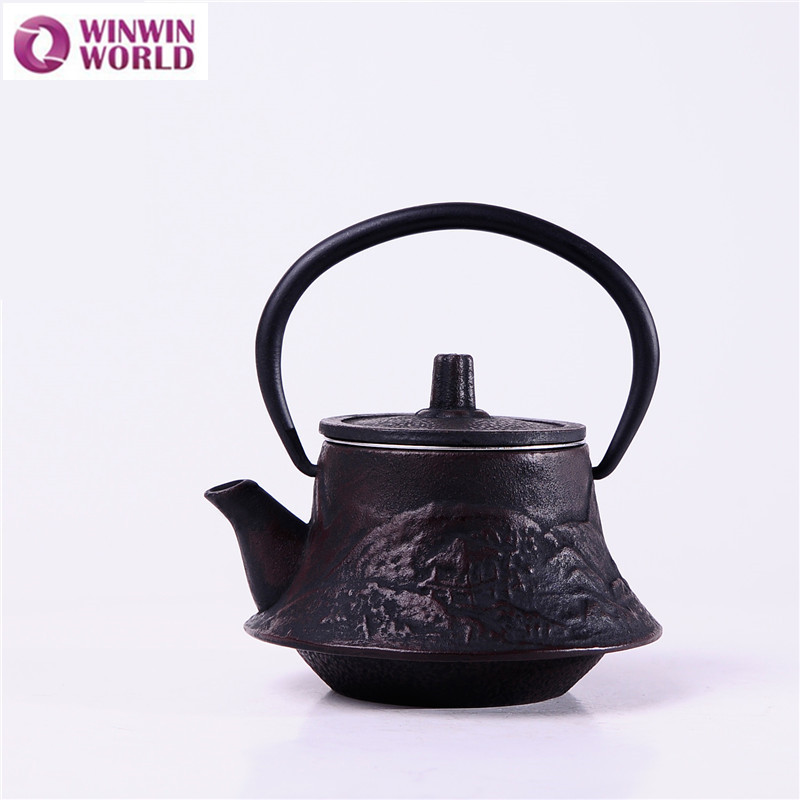 200ml Wholesale Japanese Cast Iron Tea Pot Theiere Black Teapot with infuser Metal TeaKettle Kungfu Tea Pot WW-MT019