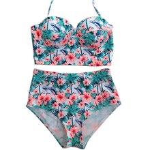 2017 Высокая Талия Bikinis Swimsuit Женщин Плюс Размер Купальники Купальники Ретро Цветочные Push Up Комплект Бикини Одежда для Пляжа