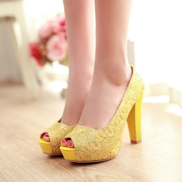 Большой размер 34-43 peep toe высокое качество мода женщины насосы квадратный каблуки сладкий стиль платформа белое золото желтый партия обуви для леди