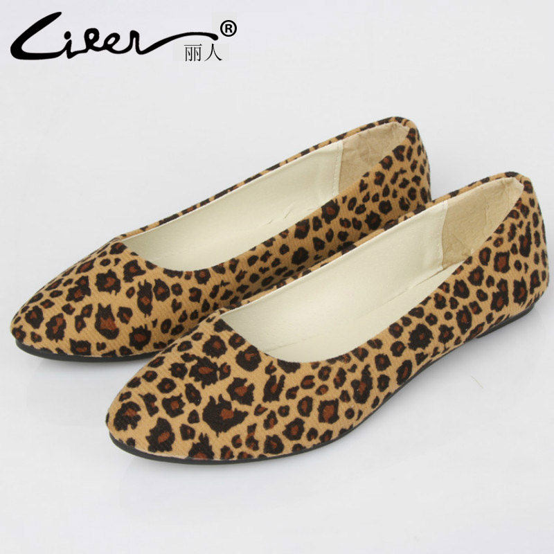 Liren New Spring Fashion 2018 Women Flats Plus Size 35-43 Leopard Pointed Toe Ladies Shoes Footwear Slip on Flats Loafers hot sale 2016 new fashion spring women flats black shoes ladies pointed toe slip on flat women s shoes size 33 43