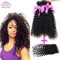 Перуанский вьющиеся волосы с закрытием 7а перуанский девственные волосы с закрытием человеческих волос перуанский kinky вьющиеся девы волос с закрытием