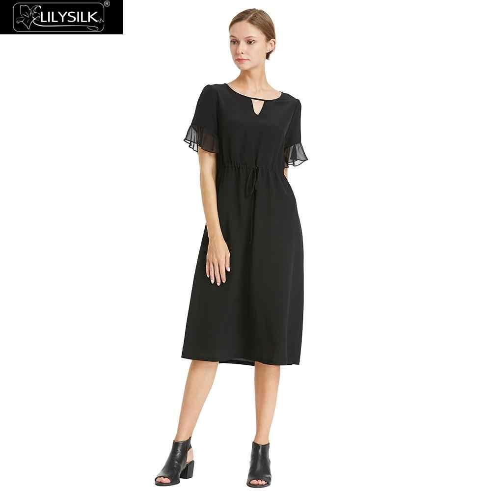 LILYSILK Dress Silk Women Romantic Lotus Lace Ladies Free Shipping  Clearance Sale 1c8f439bb395