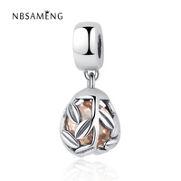 New Authentic 100% 925 Sterling Silver Beads Orange Murano Branches Pendants Charms Fit Pandora Bracelets & Bangle DIY Jewelry