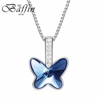 BAFFIN Real Pure 925 Sterling Silver Mini Butterfly Pendant Necklace Crystals From SWAROVSKI For Women Wedding Party Jewelry