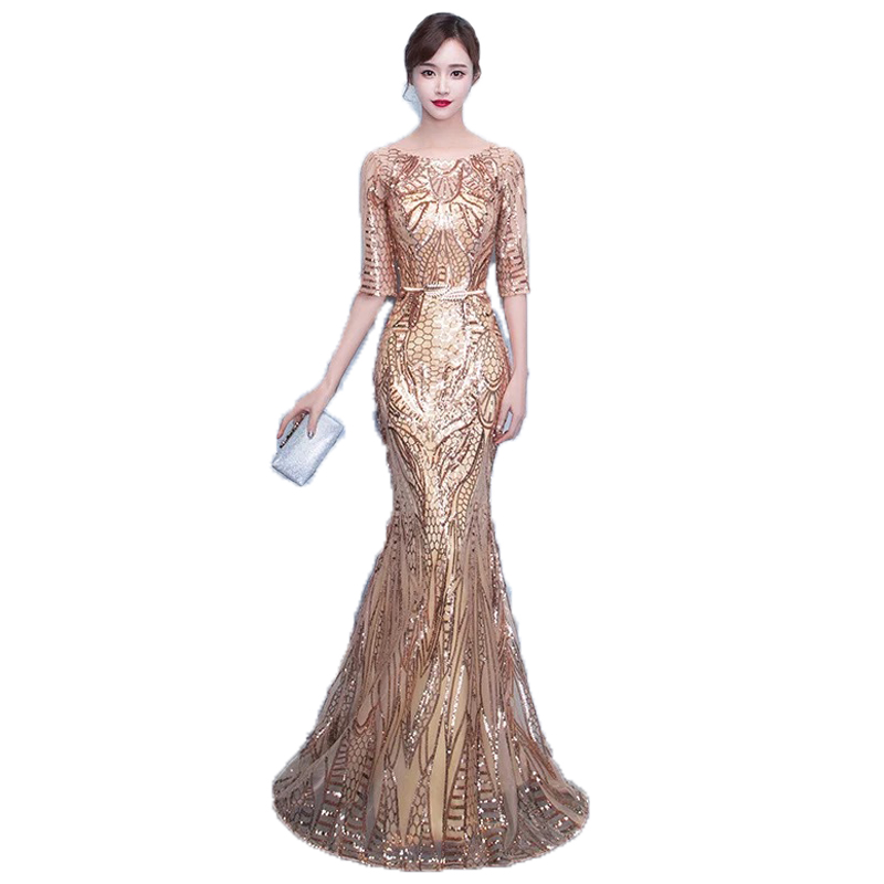 Doaprty Elegant special occasion sequin women long mermaid engagement mother daughter evening prom dresses 2018 for women