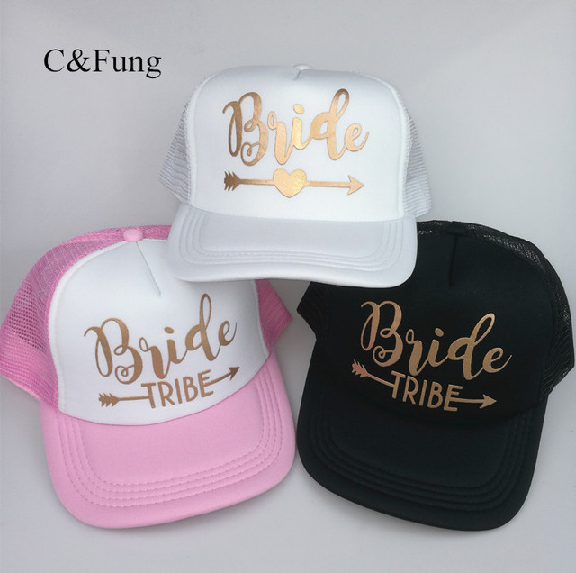 0250ab30c9b C Fung Bride truckers high quality bride Tribe gold letter Arrow hats  bridesmaid gift bachelor party Beach