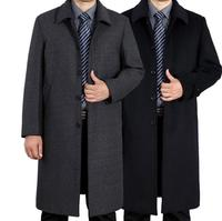 Single breasted casual woolen coat men trench coats long sleeves overcoat mens cashmere coat casaco england winter thicken black