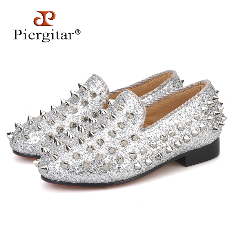 Piergitar 2019 new style children spikes loafers parental shoe same men loafers design handmade party and
