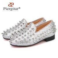 Piergitar/Новинка 2019 года; Стильные Детские лоферы с шипами; туфли для родителей; одинаковые мужские лоферы; дизайнерская детская обувь ручной р