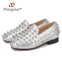 Piergitar 2019 new style children spikes loafers parental shoe same men loafers design handmade party and wedding kid shoes