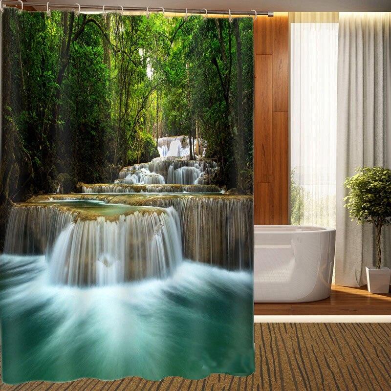 MYRU 3D Print Waterproof Waterfall Shower Curtains Bath