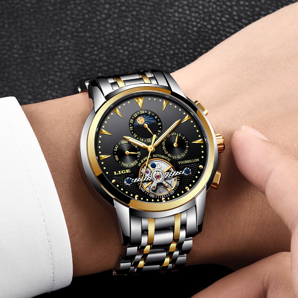 Relogio Masculino 2019 LIGE Top marka luksusowe męskie moda biznes zegarek męskie Tourbillon zegarek męski zegarki wodoodporne + prezent box w Zegarki mechaniczne od Zegarki na  Grupa 1