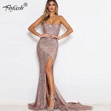 POFASH atractiva rosa brillante Sequin Maxi vestido de fiesta larga del  hombro forro baja corte Retro Noche Azul vestido largo ce033a33f70a